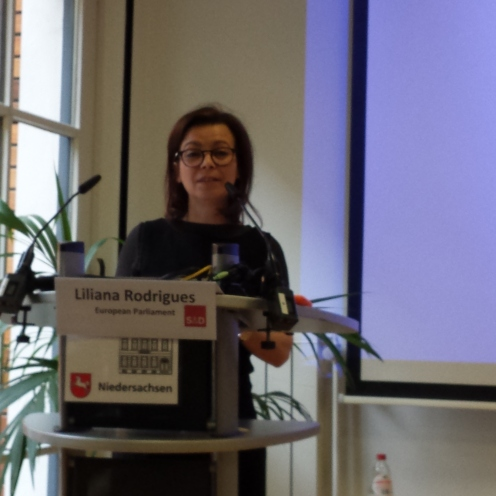 Presentation of the european context by Liliana Gomes, member of the European Parliament during the EDU-FIN Final Seminar in Brussels