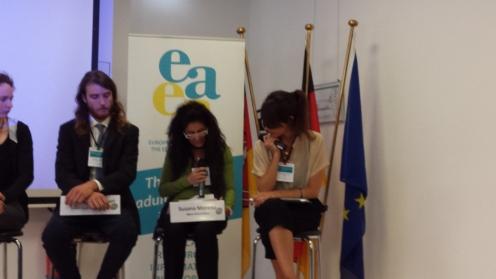 Susana Moreno, Àgora Association Board Member, during the EDU-FIN Final Seminar in Brussels.