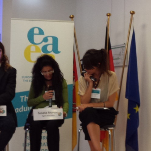Susana Moreno, Àgora Association Board Member, during the EDU-FIN Final Seminar in Brussels.